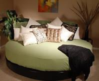 Круглая простынь - Премиум Класса  на круглую кровать цветная на резинке