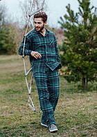 Пижама мужская в клетку Key MNS 048 зеленая, XL