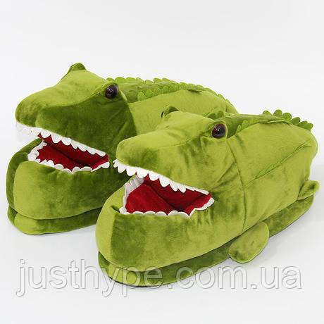 Мягкие тапочки кигуруми Крокодил  Код 10-2616