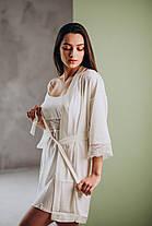 Шелковый комплект на утро невесты: сорочка и халат, фото 2