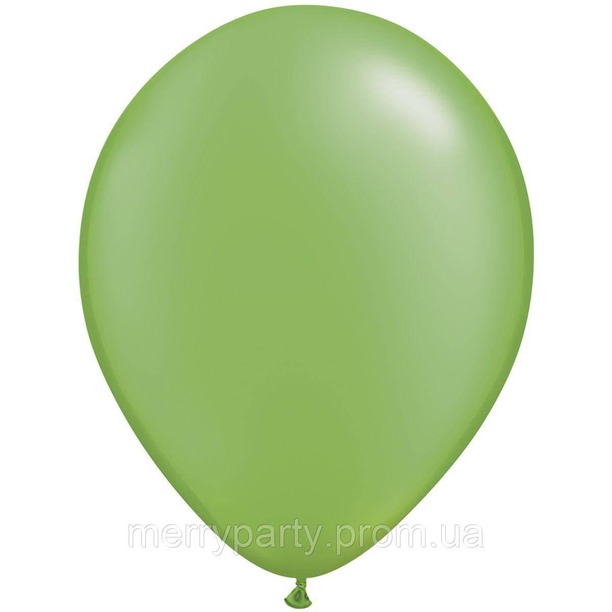 "11"" (28 см) металлик зеленый Pearl Lime green Qualatex США латексный шар"