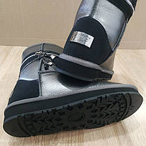UGG Натуральна шкіра уггі жіночі класичні високі черевики високі Срібні чобітки шкіряні срібло, фото 3