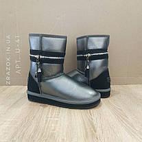 UGG Натуральна шкіра уггі жіночі класичні високі черевики високі Срібні чобітки шкіряні срібло, фото 2