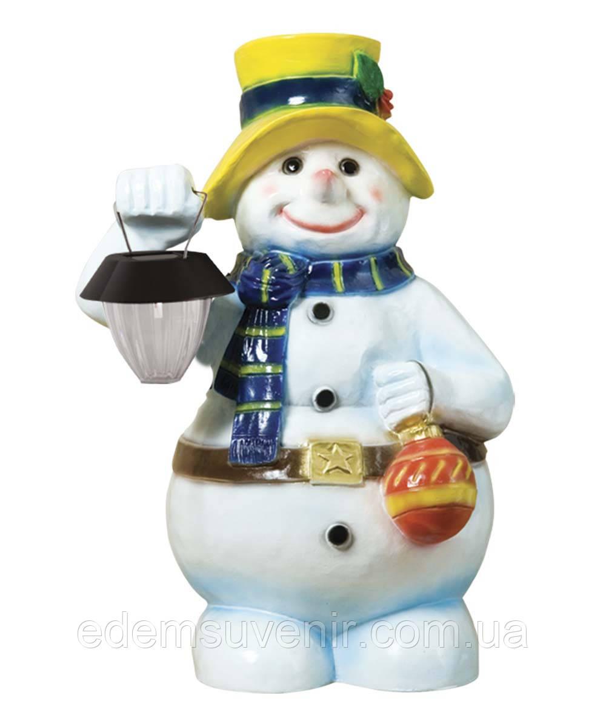 Новорічна садова фігура Сніговик з ліхтарем