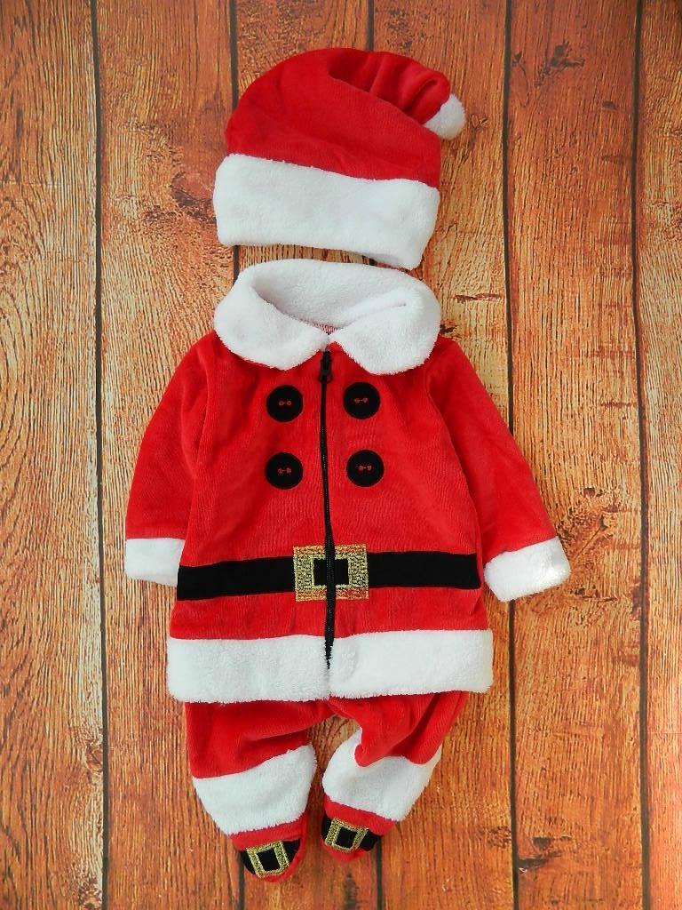 Новогодний детский комбинезон + шапочка из велюра Санта
