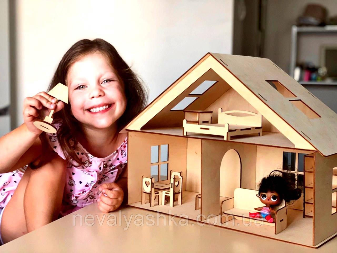 Деревянный Кукольный Домик для Кукол ЛОЛ, дом мебель 2 этажа для куклы LOL ляльковий будиночок 011183