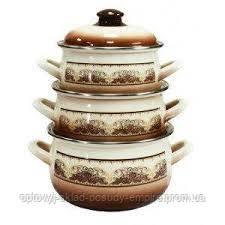Набор посуды эмалированный 6-предметов объёмом 2,1 л, 3,1 л, 4,0л Терракот Турция aрт. 2293