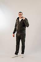 Стильный мужской велюровый спортивный костюм батальных размеров цвета хаки с воротником стойкой