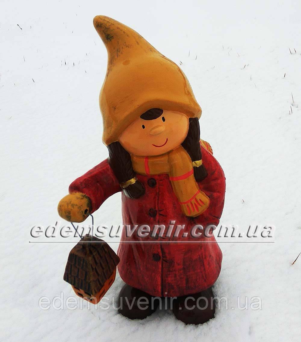 Новогодняя садовая фигура Герда с фонарем
