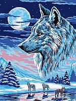 Картина по номерам 40х30см Babylon Turbo Волки под луной