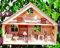 Деревянный Кукольный Домик для Кукол ЛОЛ, дом мебель 2 этажа для куклы LOL ляльковий будиночок 011184