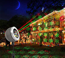 Светодиодный лазерный уличный проектор Ecolend snow 33-12 красные и зеленые рисунки  IP65 12W