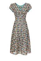 Платье бежевое из легкого вискозного трикотажа плетения Сорренто модель Кристен