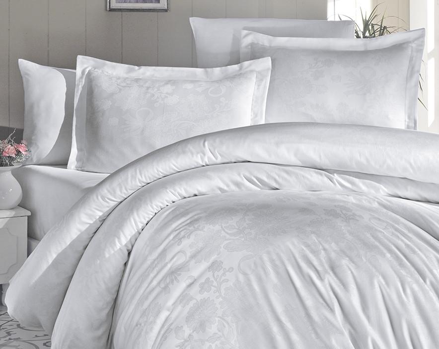Комплект постельного белья First Choice Сатин Жаккард 200х220 Herra beyaz