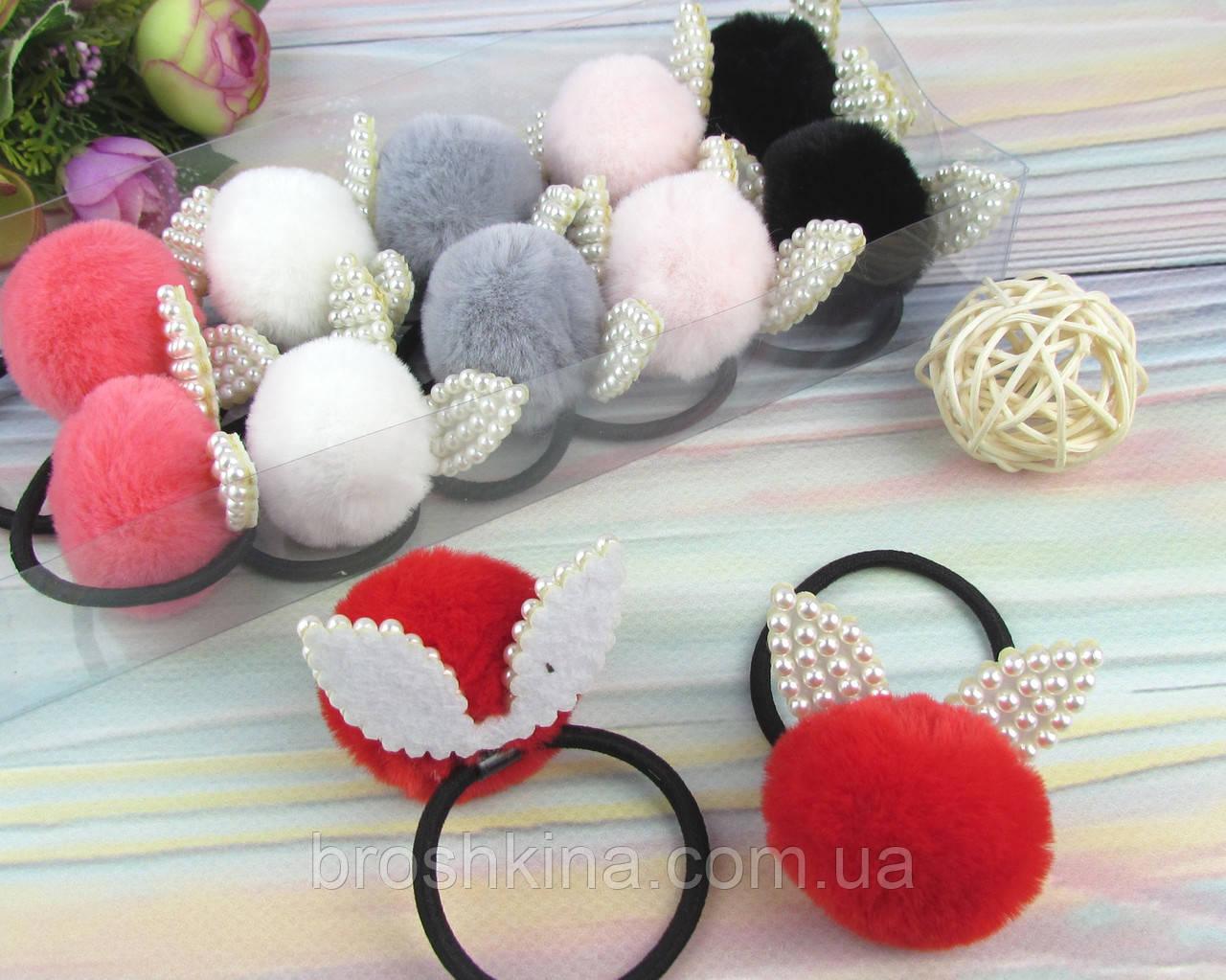 Резинки для волос меховые шарики Ø4 см с ушками 12 шт/уп.