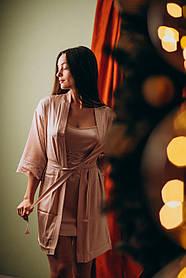 Шелковая ночная сорочка с халатом (комплект) розовая пудра