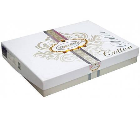 Комплект постільної білизни First Choice Жаккард Сатин 200х220 Herra beyaz, фото 2