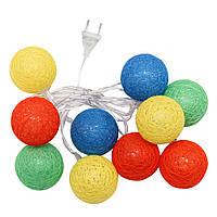Гирлянда тайские шарики фонарики: 10 LED шариков, длина 2 метра