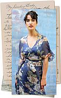 Платье синее / красное из натурального шелка с принтом больших роз модель Флори