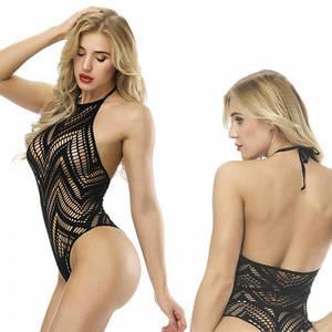 Сексуальное боди сеточка Faina эротический прозрачный купальник с открытой спиной