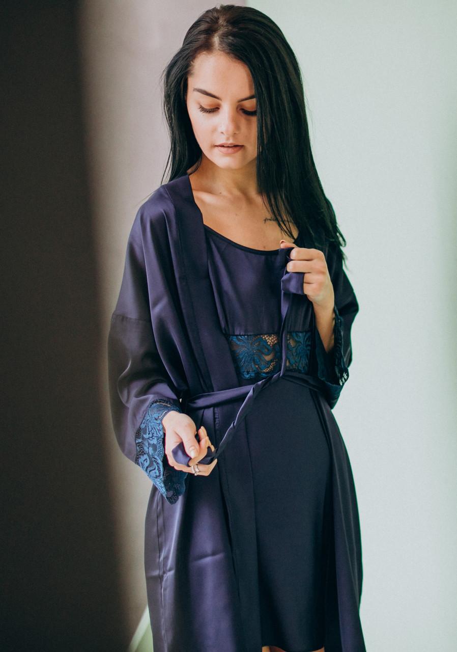 Шелковая ночная сорочка с халатом (комплект) темно-синий