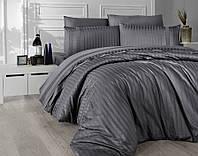 Комплект постельного белья First Choice New Trend Fume сатиновый 200-220 см темно-серый, фото 1
