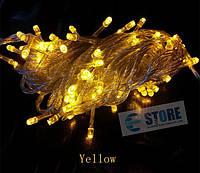 Новогодняя cветодиодная гирлянда LED 800 лампочек (50м): желтый цвет