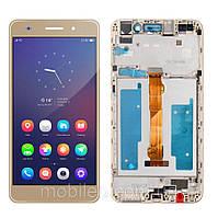 Дисплей (LCD) Huawei Y6 II | Honor 5A | CAM-L21 | CAM-AL00 с тачскрином и рамкой, золотой