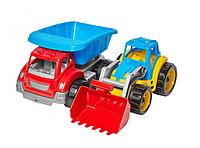 Набор игрушечных машин. Детская строительная техника. Игрушечные пластиковые машины грузовик и экскаватор.