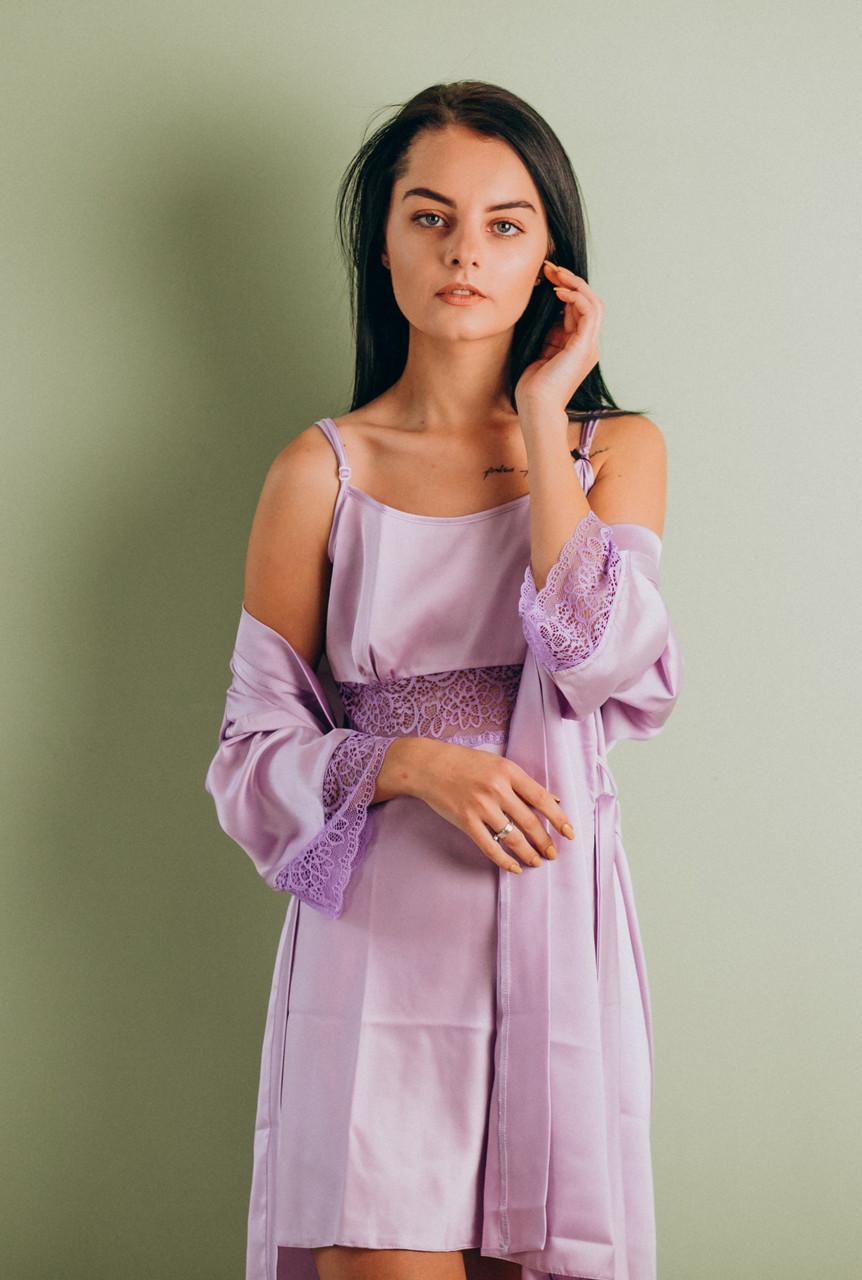 Шелковая ночная сорочка с халатом (комплект) сирень