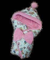 Конверт-одеяло с капюшоном для новорожденных на выписку, махра (Розовый)