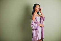 Шелковая ночная сорочка с халатом (комплект) сирень, фото 3