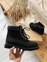 Женские ботинки Timberland 6 Inch черного цвета без меха (100% живые фото)