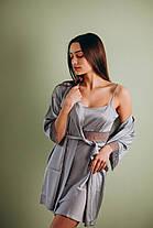 Шелковая ночная сорочка с халатом (комплект) серый, фото 2