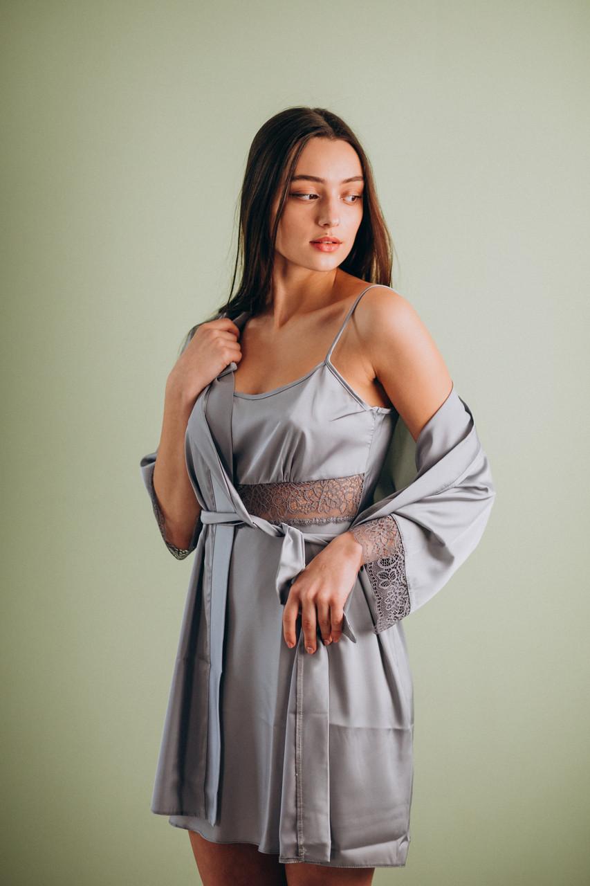 Шелковая ночная сорочка с халатом (комплект) серый