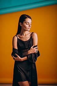 Шелковая ночная сорочка с халатом (комплект) черный
