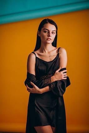 Шелковая ночная сорочка с халатом (комплект) черный, фото 2