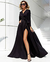Вечернее черное платье с длинным рукавом (S/M, M/L, L/XL)