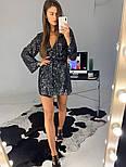 Женское платье-пайетка на запах с поясом (в расцветках), фото 3