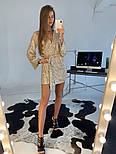 Женское платье-пайетка на запах с поясом (в расцветках), фото 4