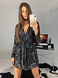 Женское платье-пайетка на запах с поясом (в расцветках), фото 2