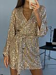 Женское платье-пайетка на запах с поясом (в расцветках), фото 5