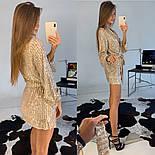 Женское платье-пайетка на запах с поясом (в расцветках), фото 6