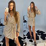 Женское платье-пайетка на запах с поясом (в расцветках), фото 8