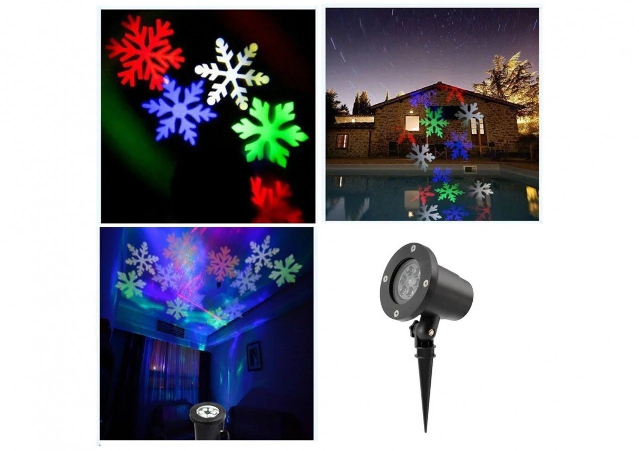 Лазерный проектор Led Strahler Schneeflocke Z2 лазерная подсветка для дома CG04 PR4