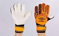 Перчатки вратарские с защитными вставками на пальцы FB-879-2 UMB (PVC, р-р 8-10, оранжевый-черный-бе