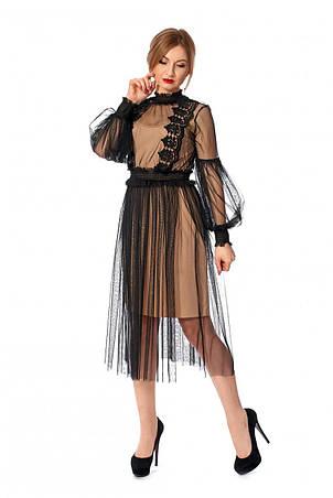 Стильне універсальне мереживне плаття-двійка 42-44, фото 2