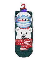 Новогодние носки детские Conte-Kids Белый мишка 19С-73СП, темно бирюзовый, рис.442 р.20-22