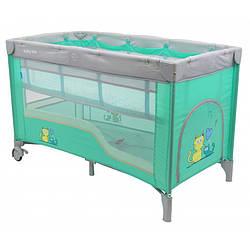 Манеж-кровать Baby Mix HR-8052-2 (2-уровневый), мятный (8170)