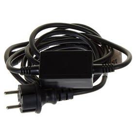 Шнур питания для светодиодных гирлянд с эффектом мерцания черный 10А IP44 Код.59158